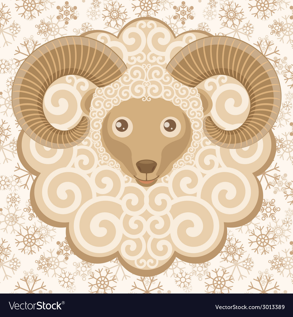 Greeting card with cute ram vector   Price: 1 Credit (USD $1)