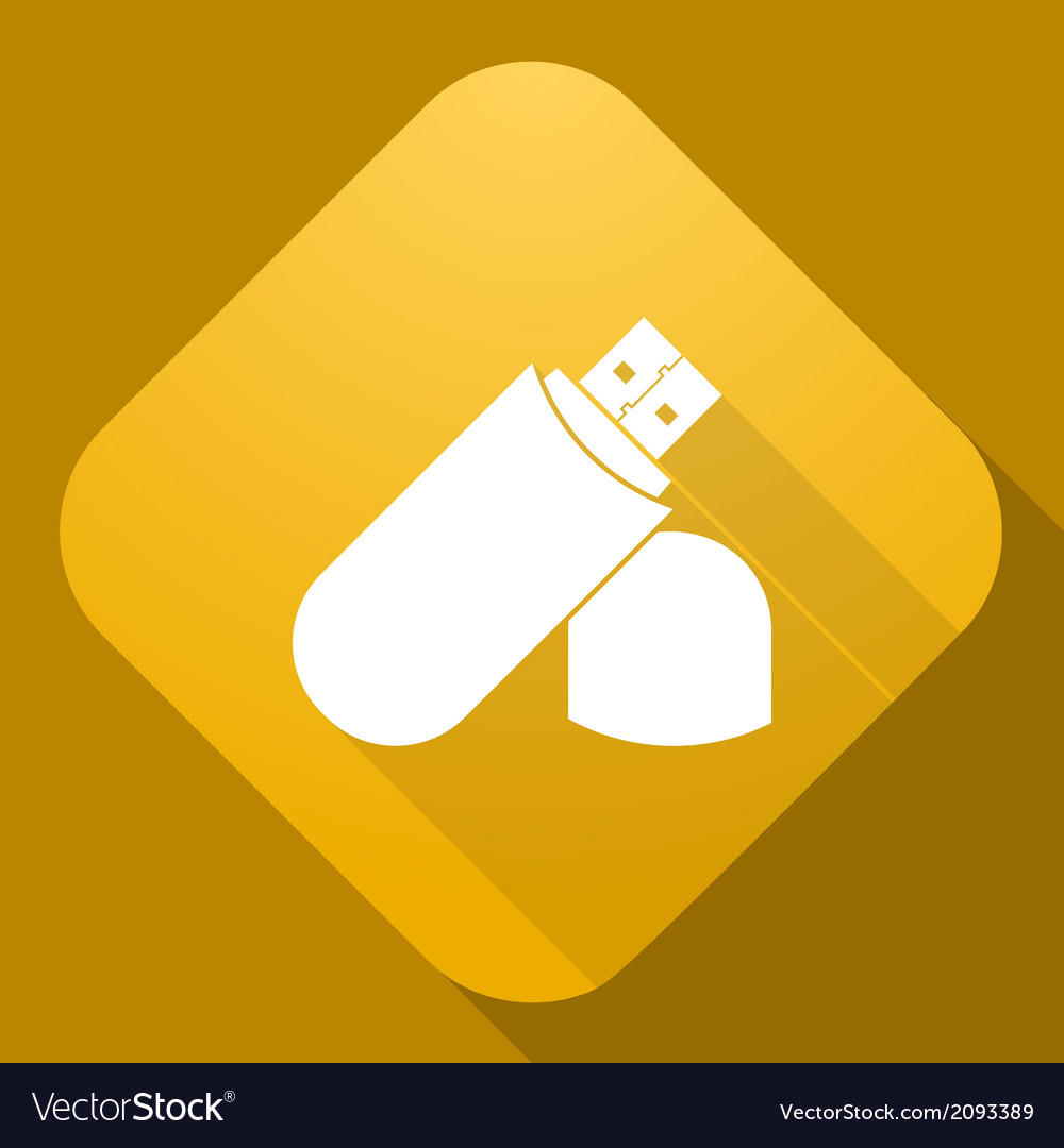 Icon of flash drive with a long shadow vector | Price: 1 Credit (USD $1)