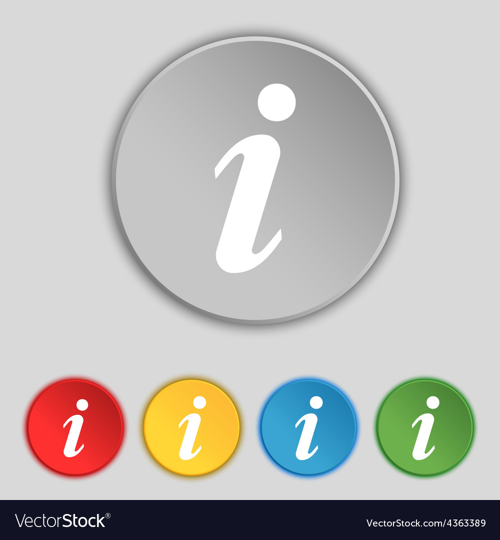 Information info icon sign symbol on five flat vector | Price: 1 Credit (USD $1)