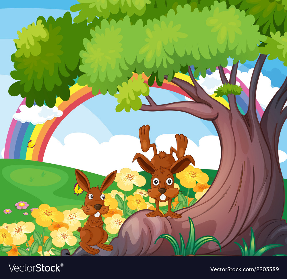 Playful wild animals under the big tree vector | Price: 3 Credit (USD $3)