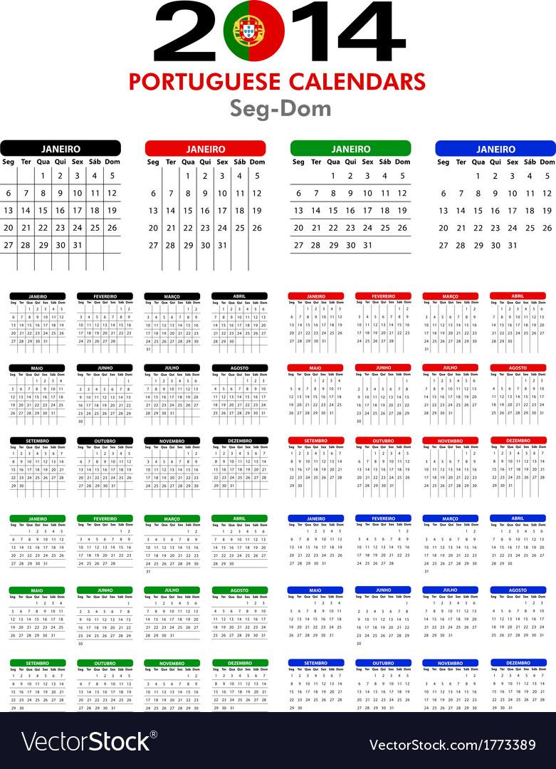 Portuguese calendar 2014 vector | Price: 1 Credit (USD $1)