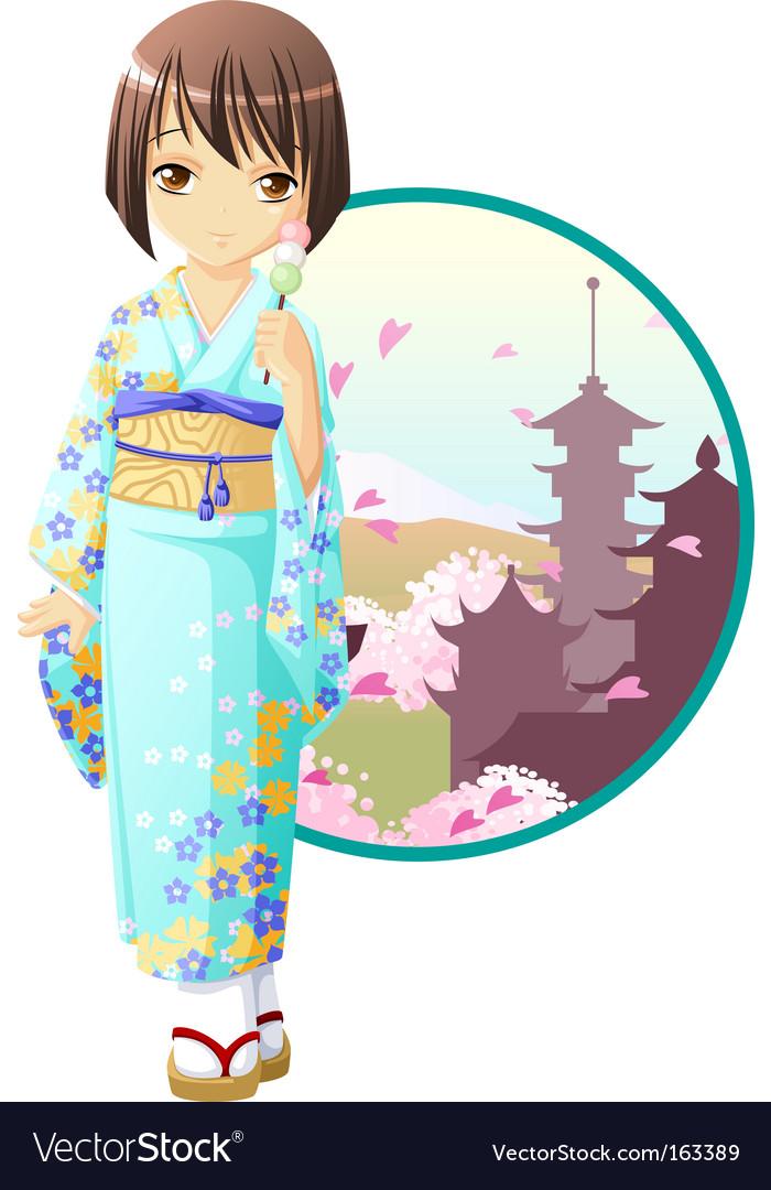 Spring kimono girl vector | Price: 3 Credit (USD $3)