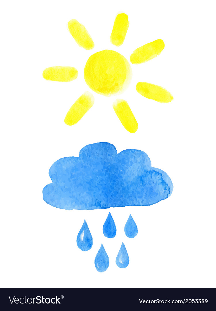Sun and rainy cloud vector | Price: 1 Credit (USD $1)