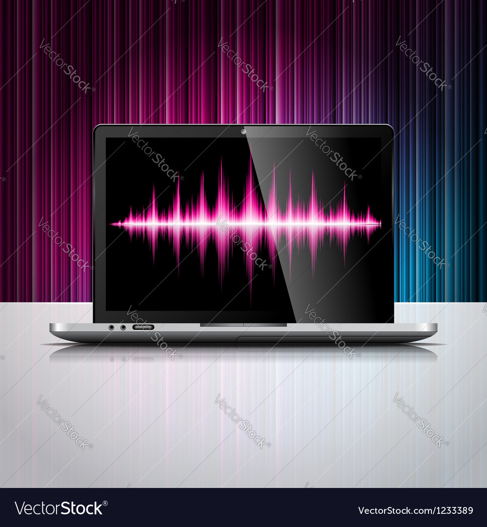 Technology styled design with shiny laptop device vector | Price: 3 Credit (USD $3)