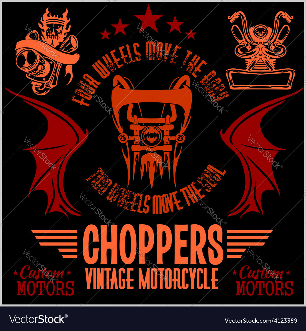 Vintage motorcycle labels badges and design vector | Price: 1 Credit (USD $1)