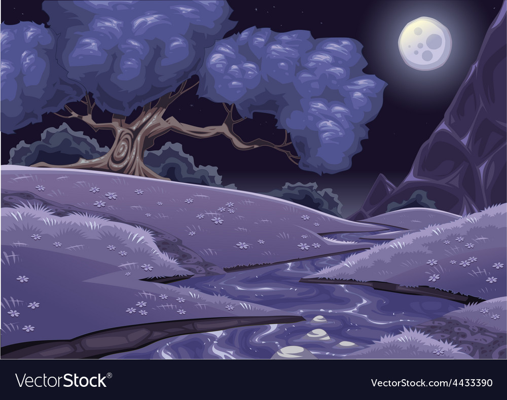 Cartoon nightly landscape with stream vector | Price: 5 Credit (USD $5)