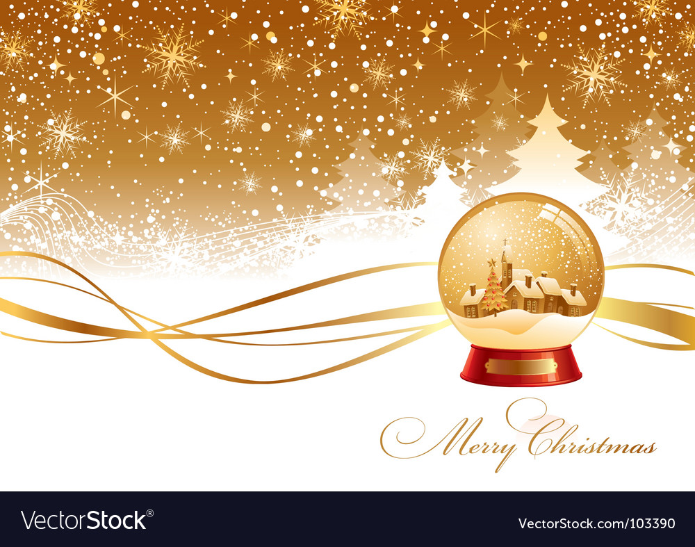 Christmas landscape and snow globe vector | Price: 1 Credit (USD $1)