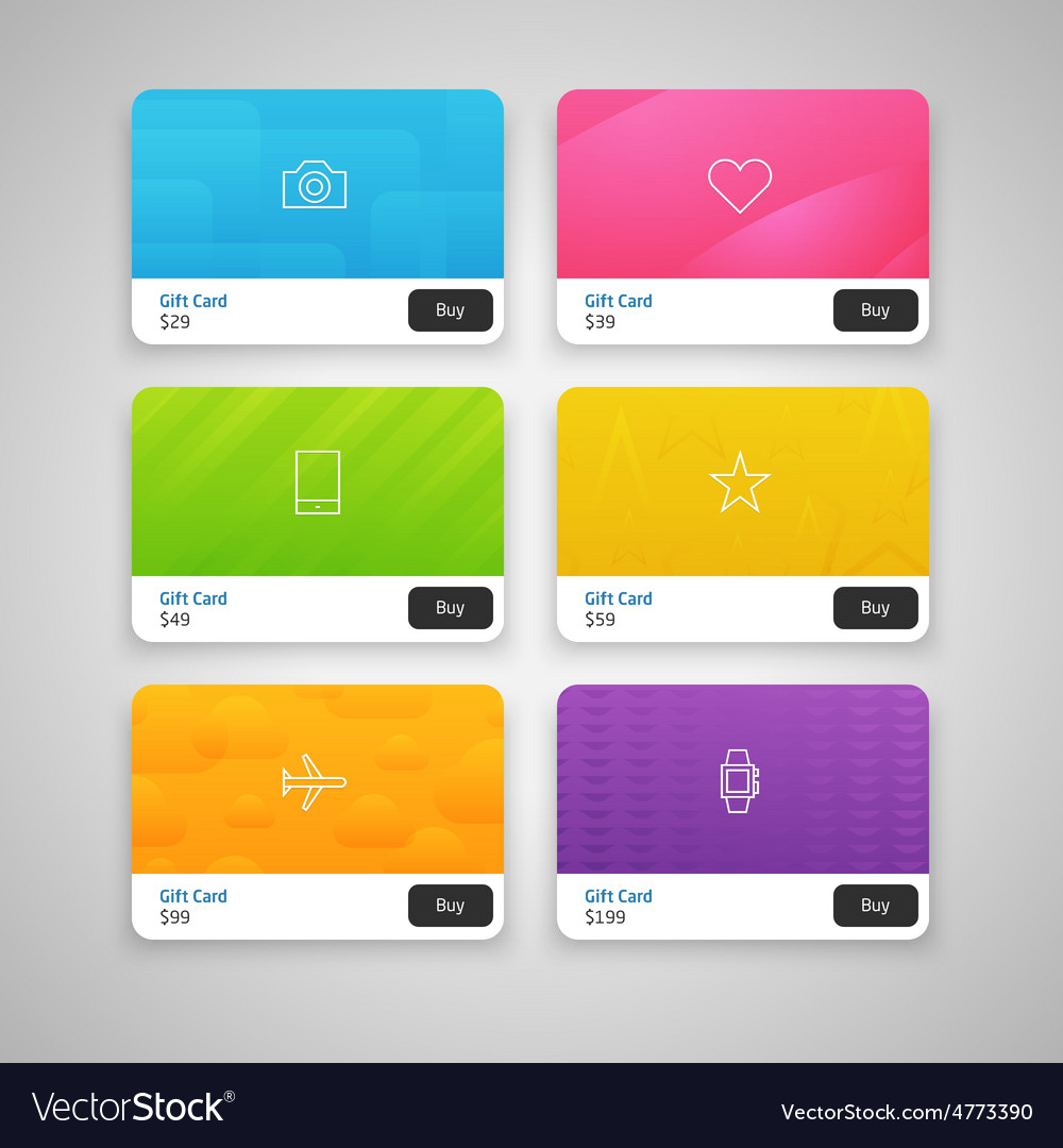 Colorful gift cards with prices vector | Price: 1 Credit (USD $1)