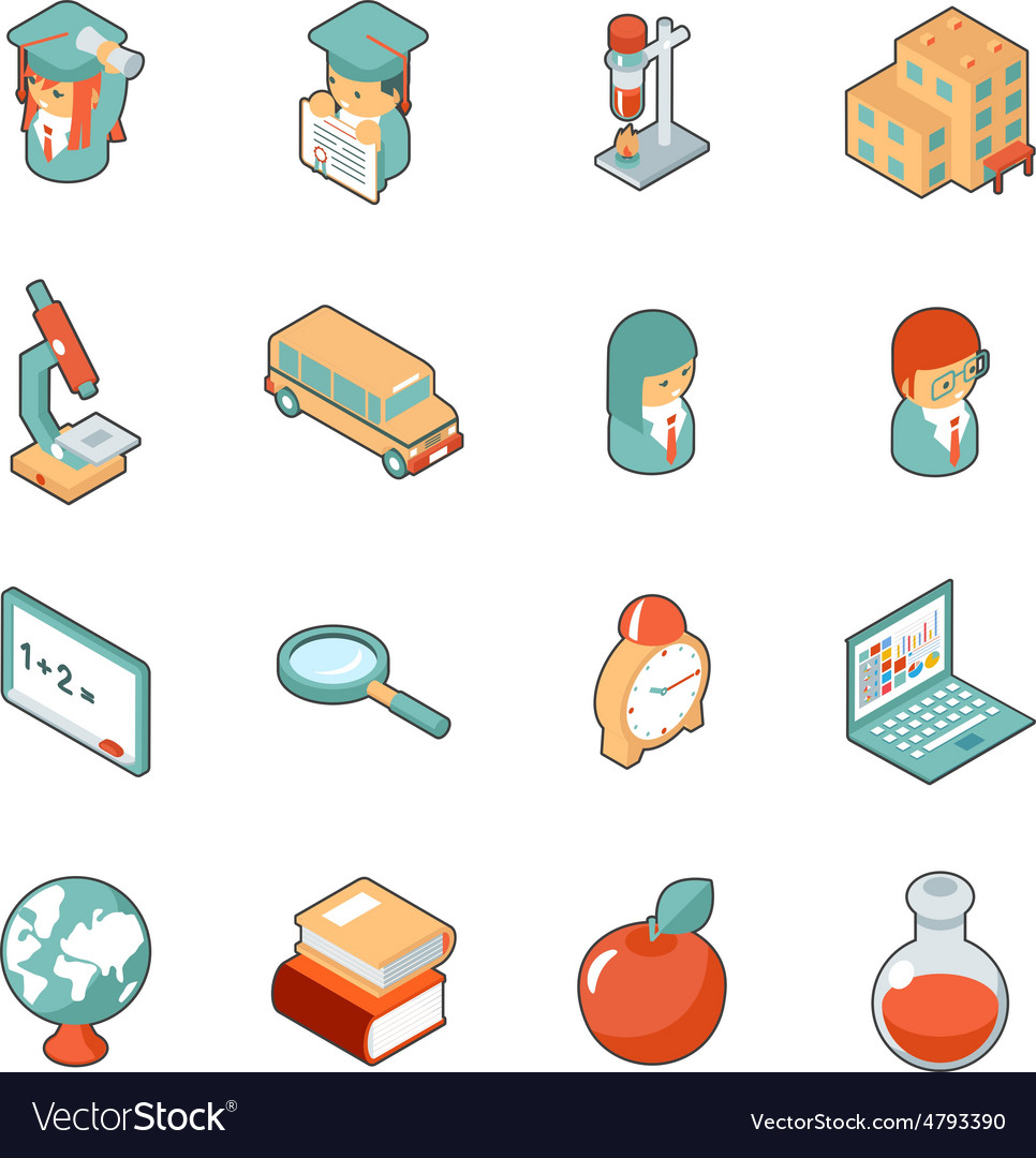 Education and school isometric 3d icons vector | Price: 1 Credit (USD $1)