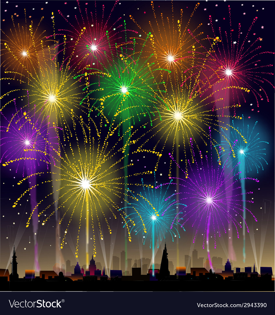 Fireworks at night vector   Price: 1 Credit (USD $1)