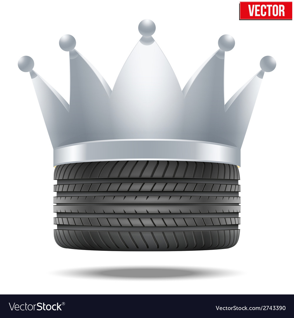 Realistic rubber tire with a silver crown vector | Price: 1 Credit (USD $1)