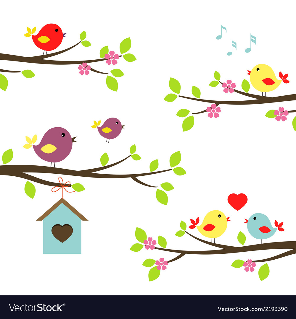 Set of birds on flowering branches vector | Price: 1 Credit (USD $1)