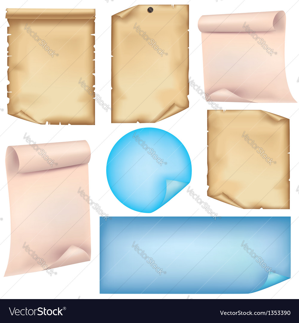 Set of paper isolated on white background vector | Price: 1 Credit (USD $1)