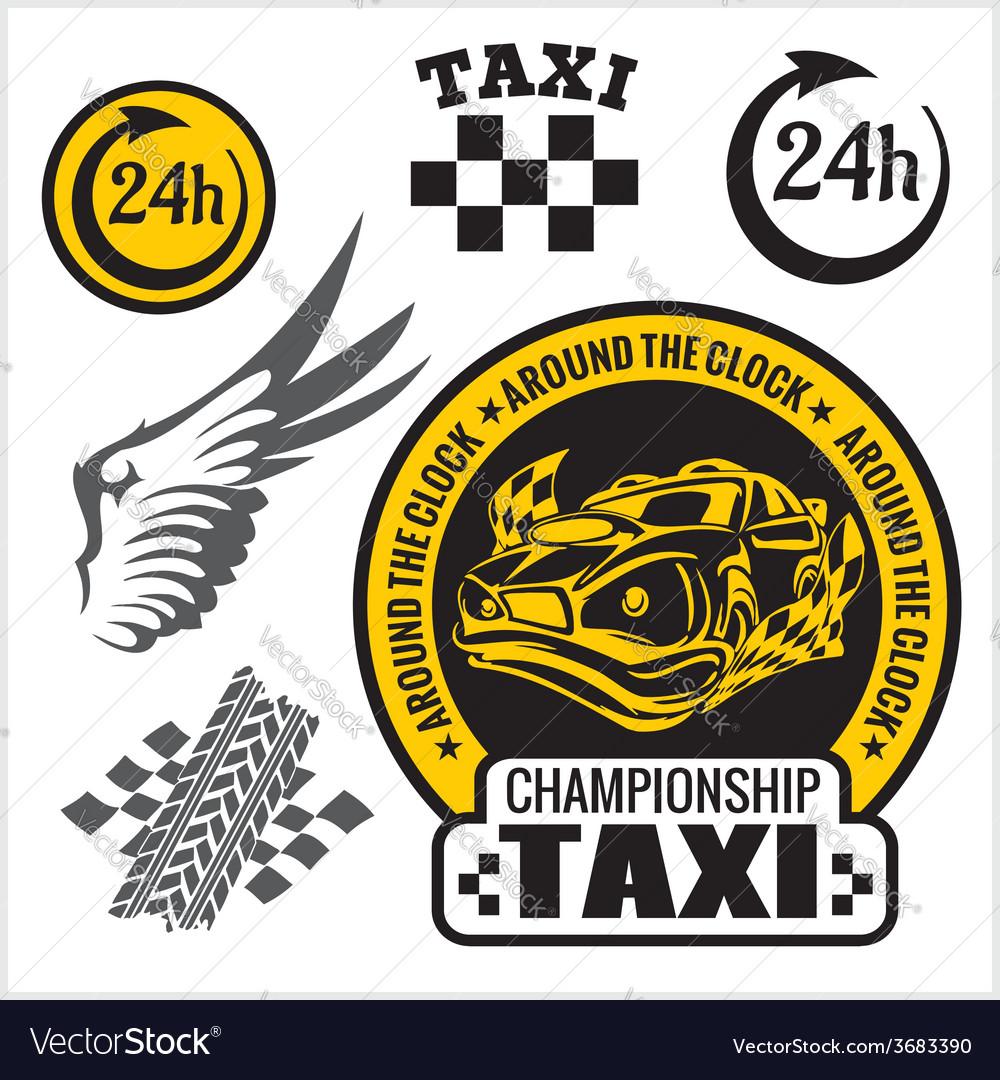Taxi symbols and elements for taxi emblem - set vector | Price: 1 Credit (USD $1)