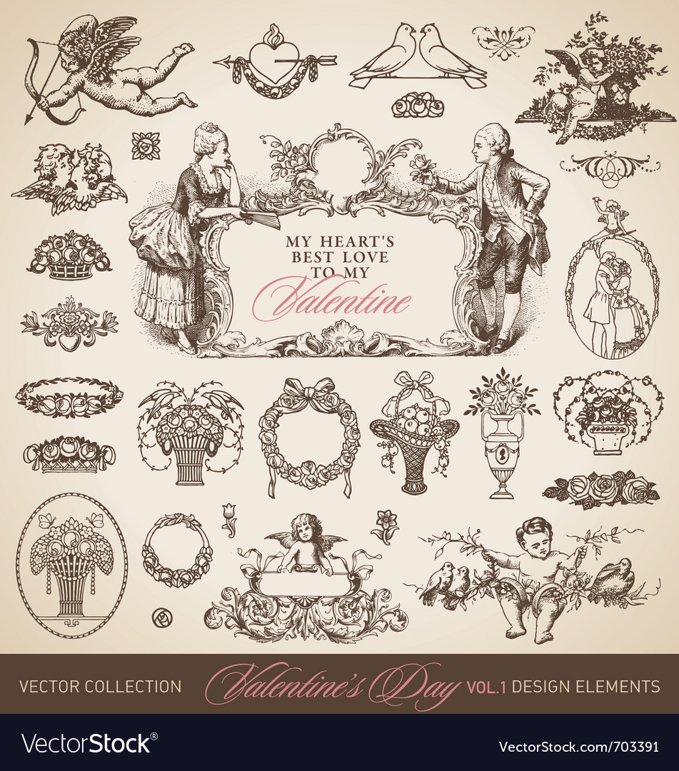 Antique valentines set vector | Price: 1 Credit (USD $1)