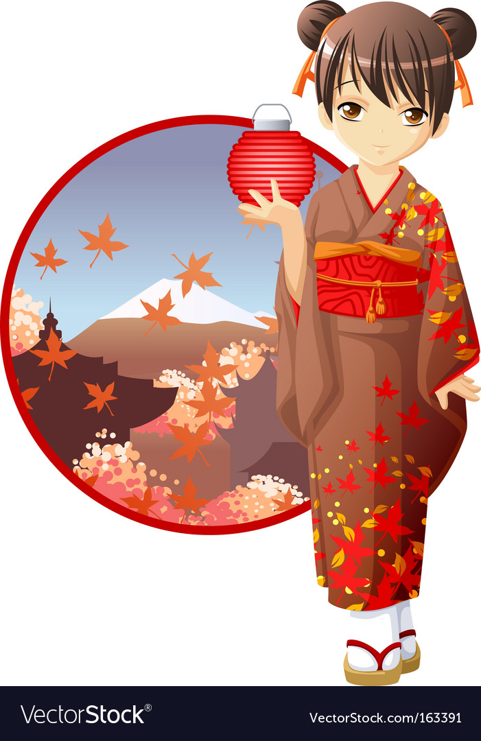 Autumn kimono girl vector | Price: 3 Credit (USD $3)