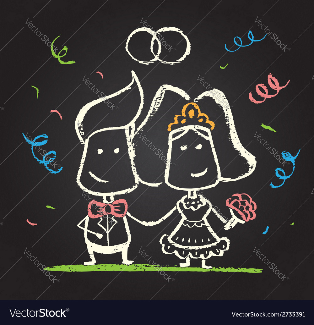Chalked happy engaged couple vector | Price: 1 Credit (USD $1)
