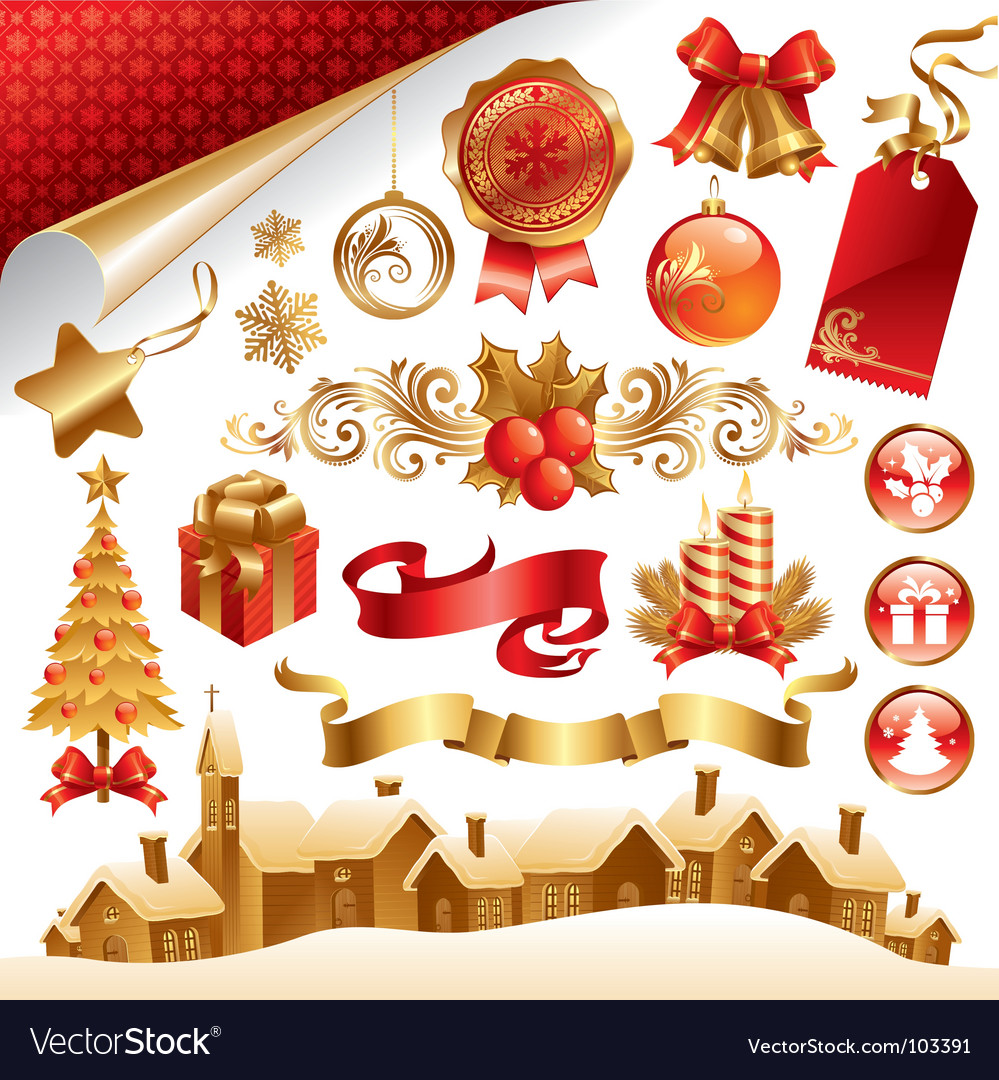 Christmas symbols vector | Price: 3 Credit (USD $3)