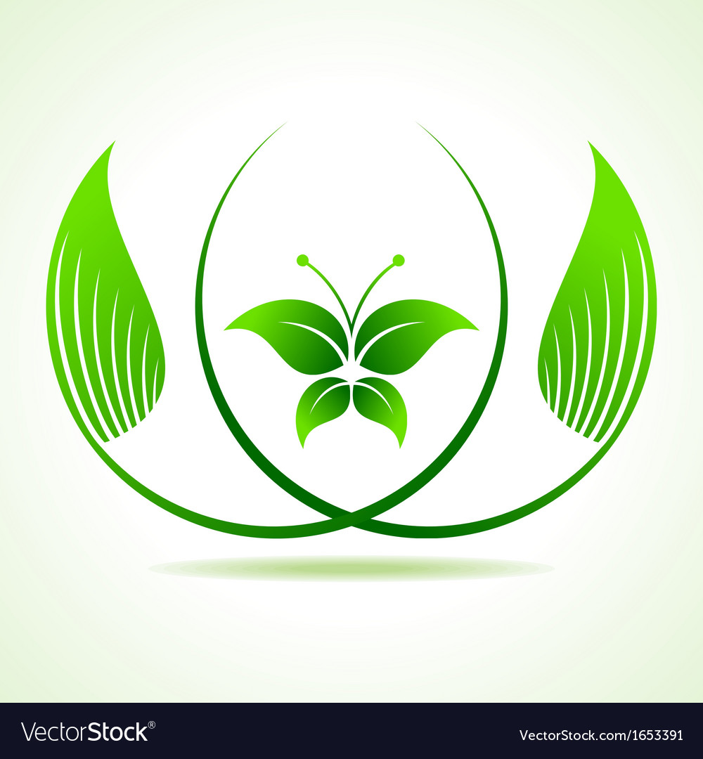 Eco butterfly between the leaf vector | Price: 1 Credit (USD $1)