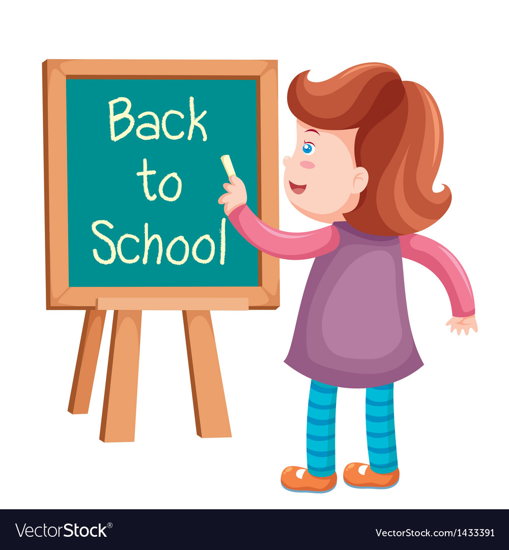 Girl writing back to school vector | Price: 1 Credit (USD $1)