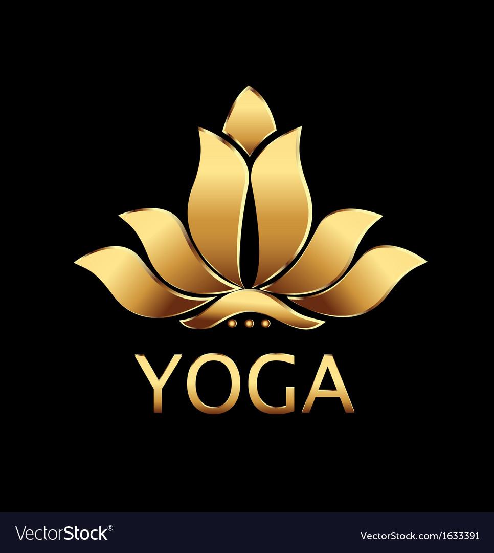 Gold lotus flower logo vector | Price: 1 Credit (USD $1)