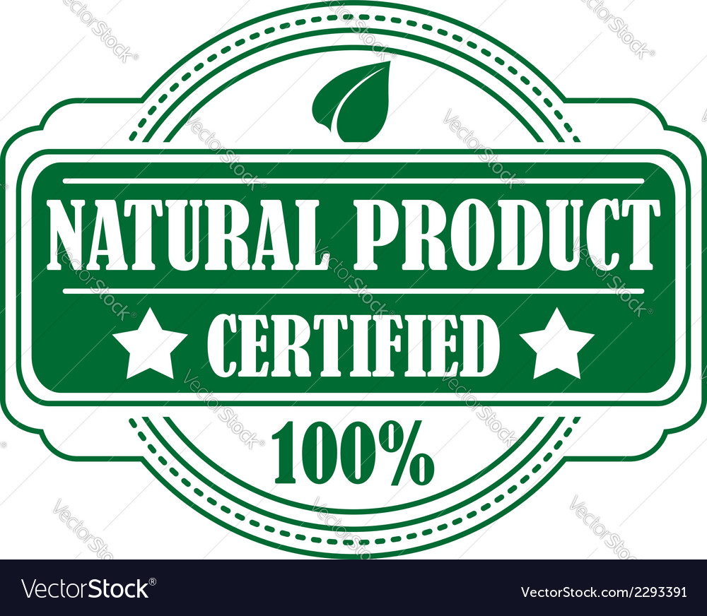 Green colored natural product label vector | Price: 1 Credit (USD $1)