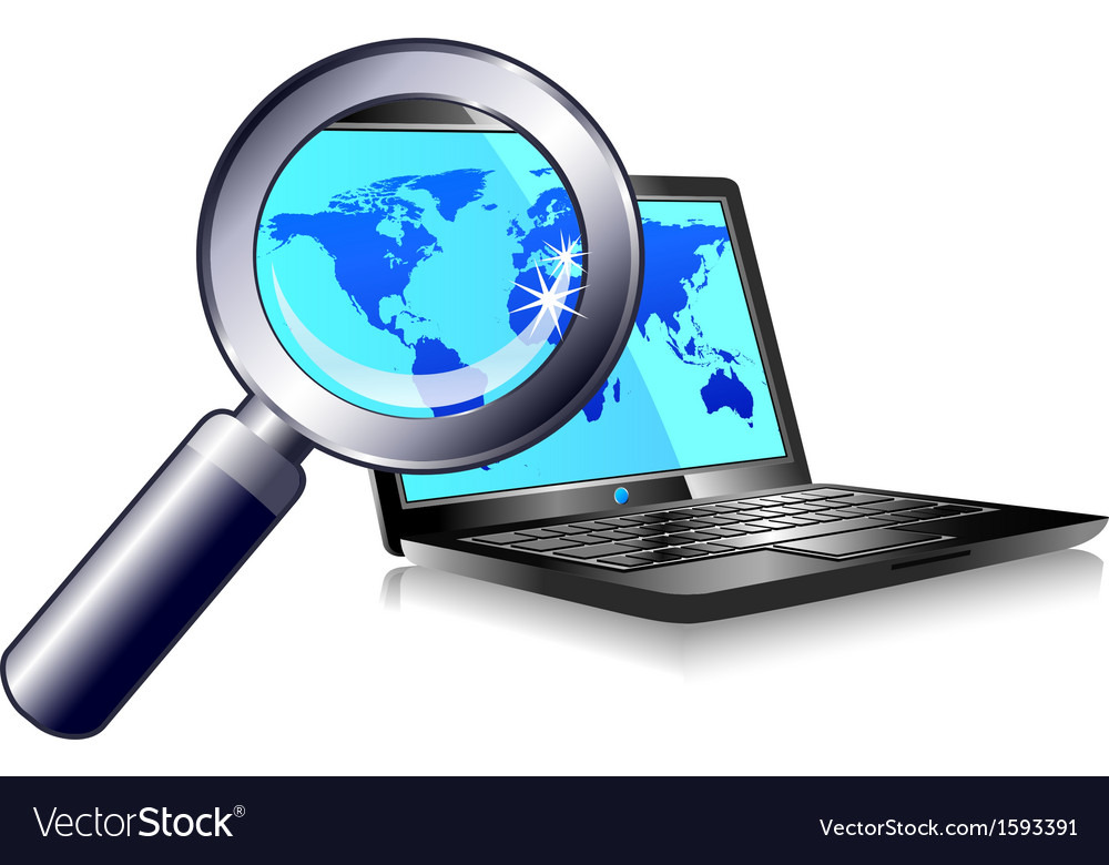 Internet ball and laptop world magnifying glass vector | Price: 1 Credit (USD $1)