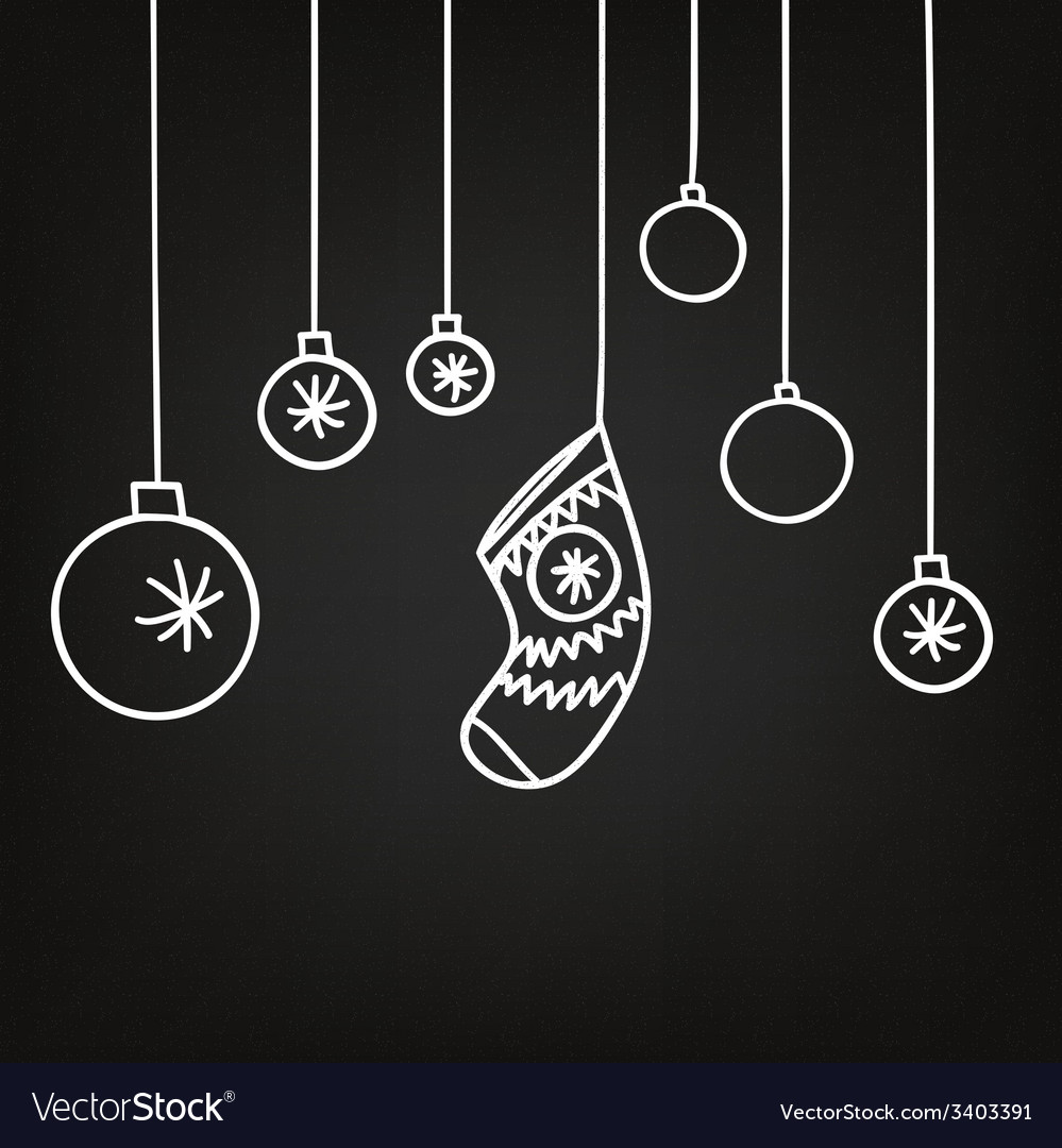 New year and christmas background blackboard vector | Price: 1 Credit (USD $1)