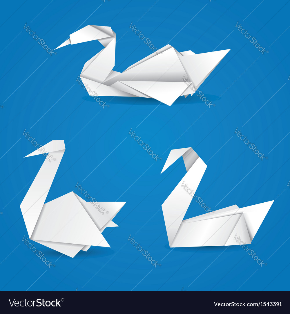 Origami swans vector | Price: 1 Credit (USD $1)
