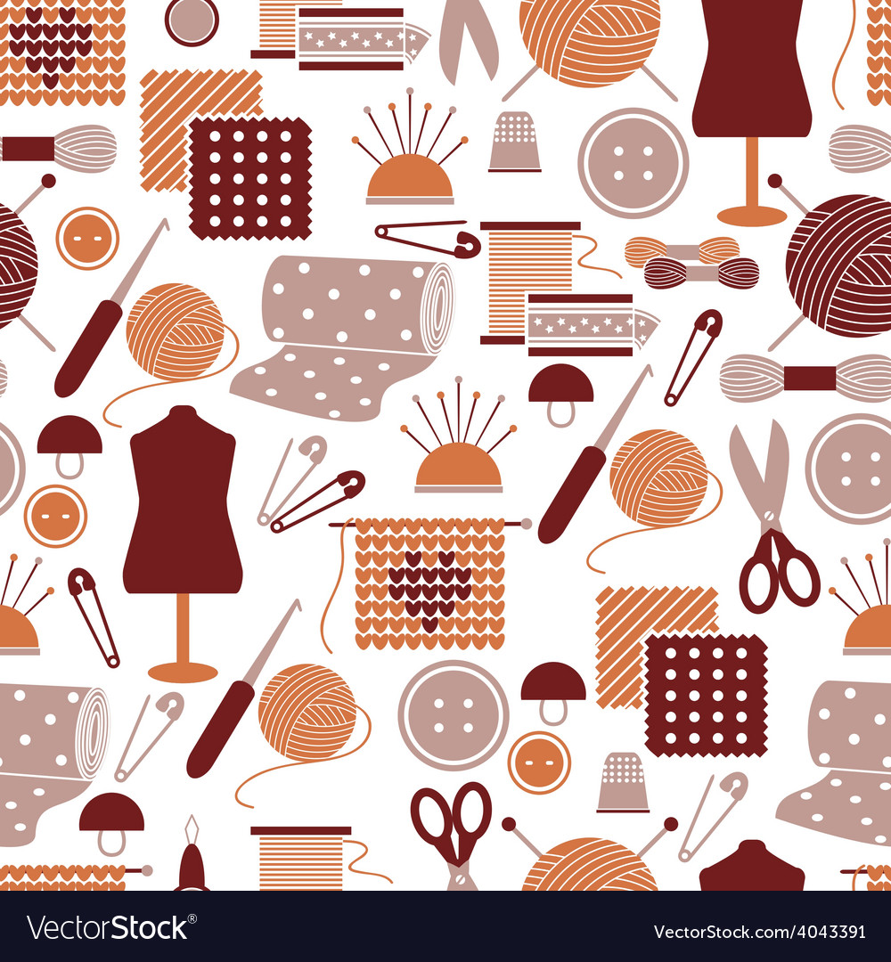 Sewing icons seamless pattern vector | Price: 1 Credit (USD $1)