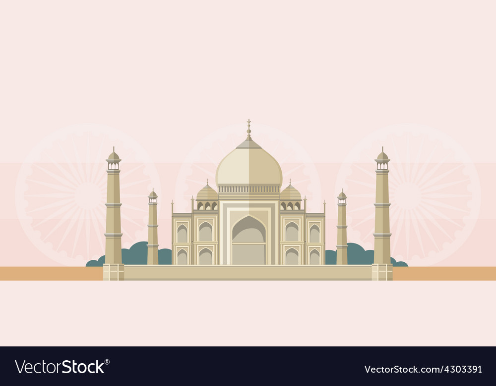The taj mahal flat image vector | Price: 1 Credit (USD $1)