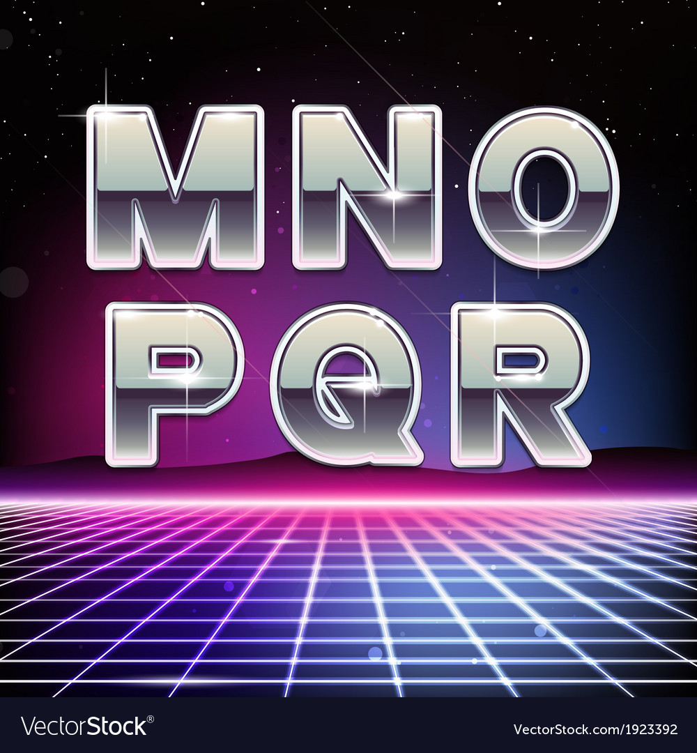80s retro sci-fi font from m to r vector | Price: 1 Credit (USD $1)