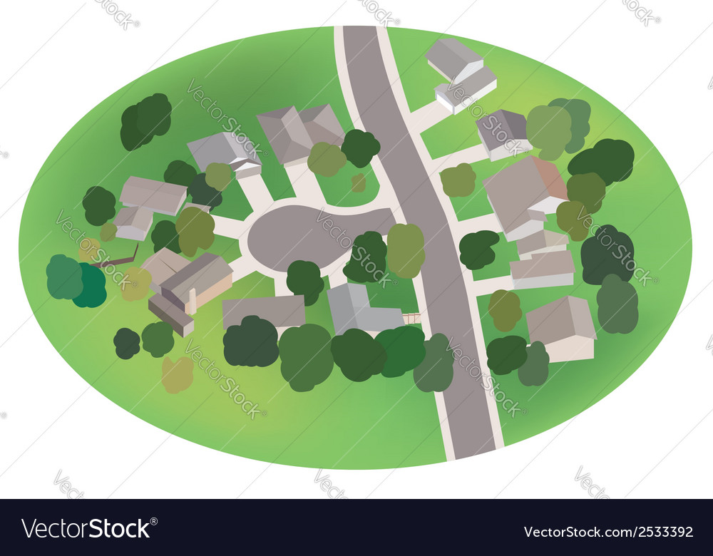 Part of village - street with houses - airview vector | Price: 1 Credit (USD $1)