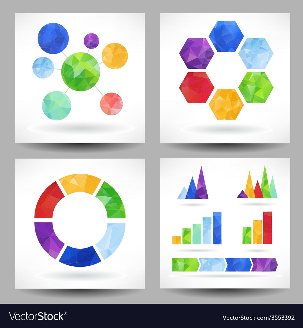 Set of charts with abstract triangles vector | Price: 1 Credit (USD $1)