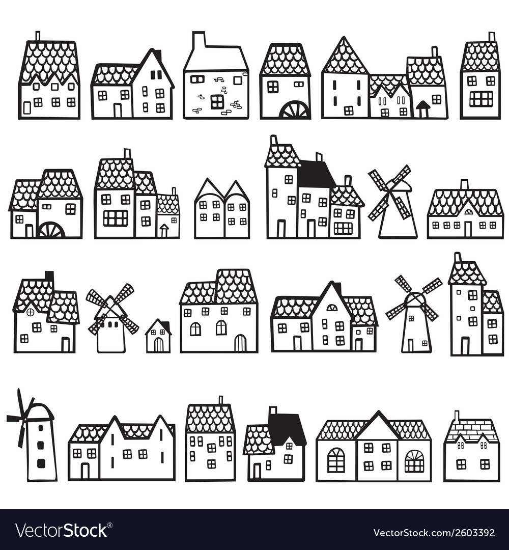 Set painted houses vector | Price: 1 Credit (USD $1)