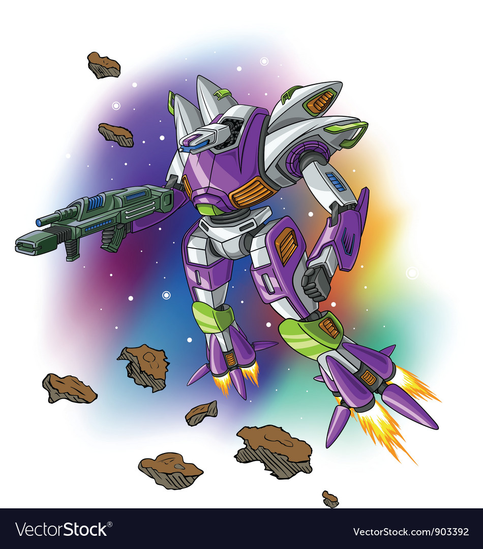 Space flying robot vector | Price: 5 Credit (USD $5)