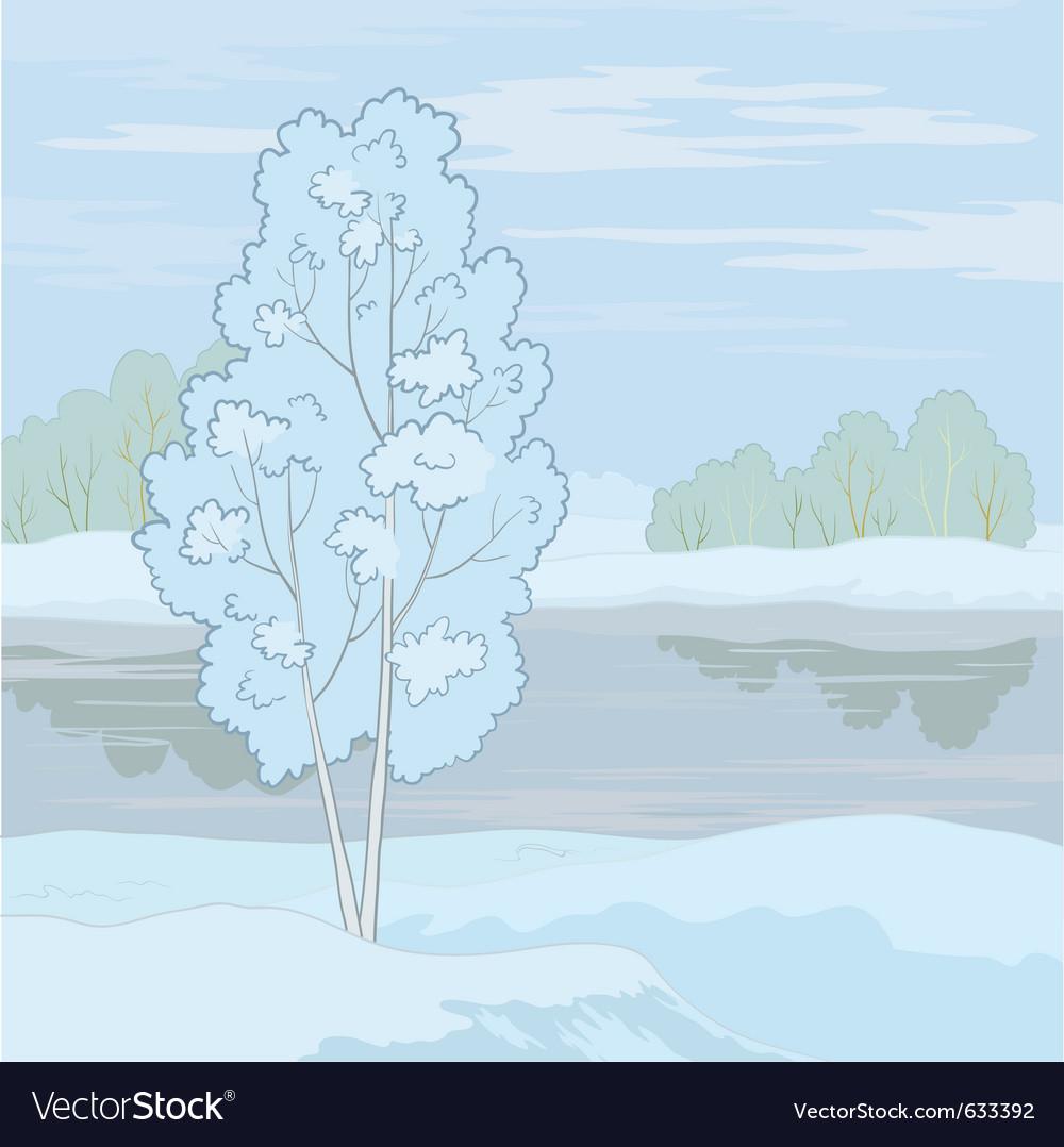 Winter landscape tree on the shore vector | Price: 1 Credit (USD $1)