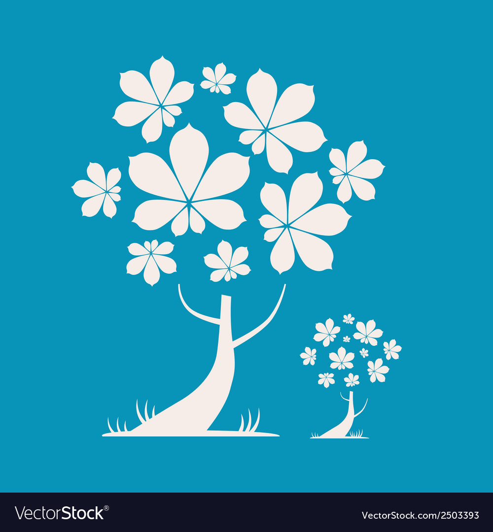 Abstract tree with chestnut leaves on blue b vector | Price: 1 Credit (USD $1)