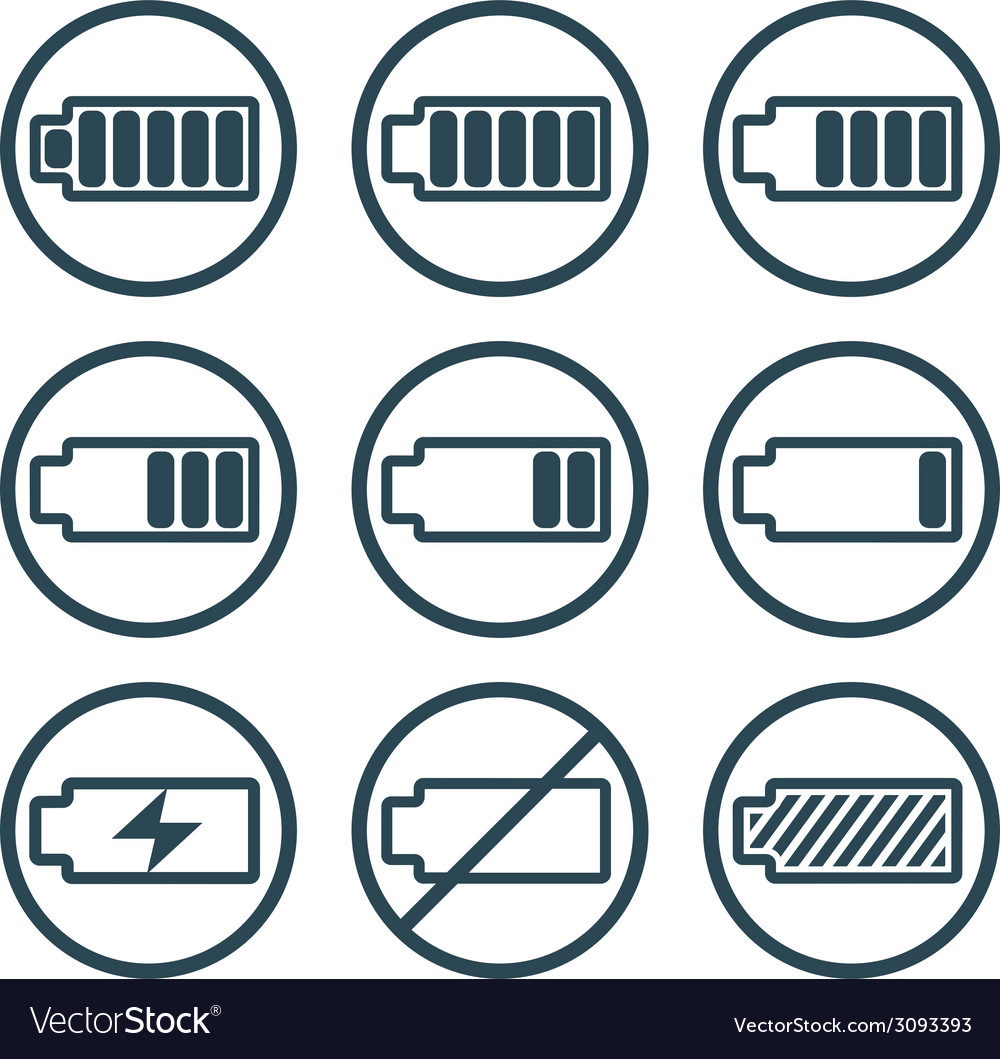 Battery charge indicator icons isolated on white vector | Price: 1 Credit (USD $1)