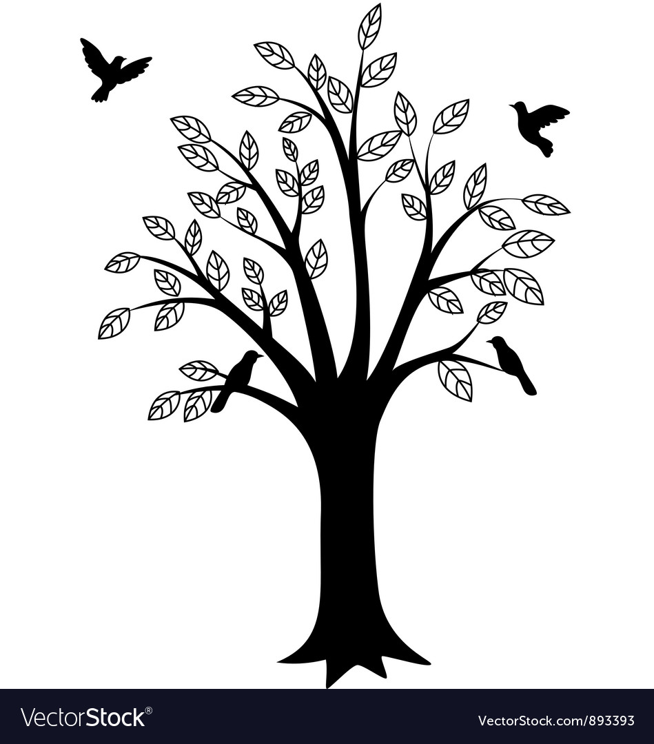 Beauty tree silhouette vector | Price: 1 Credit (USD $1)