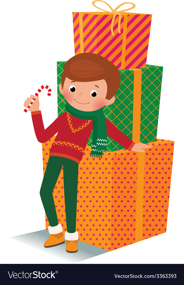Boy with christmas gift vector | Price: 1 Credit (USD $1)