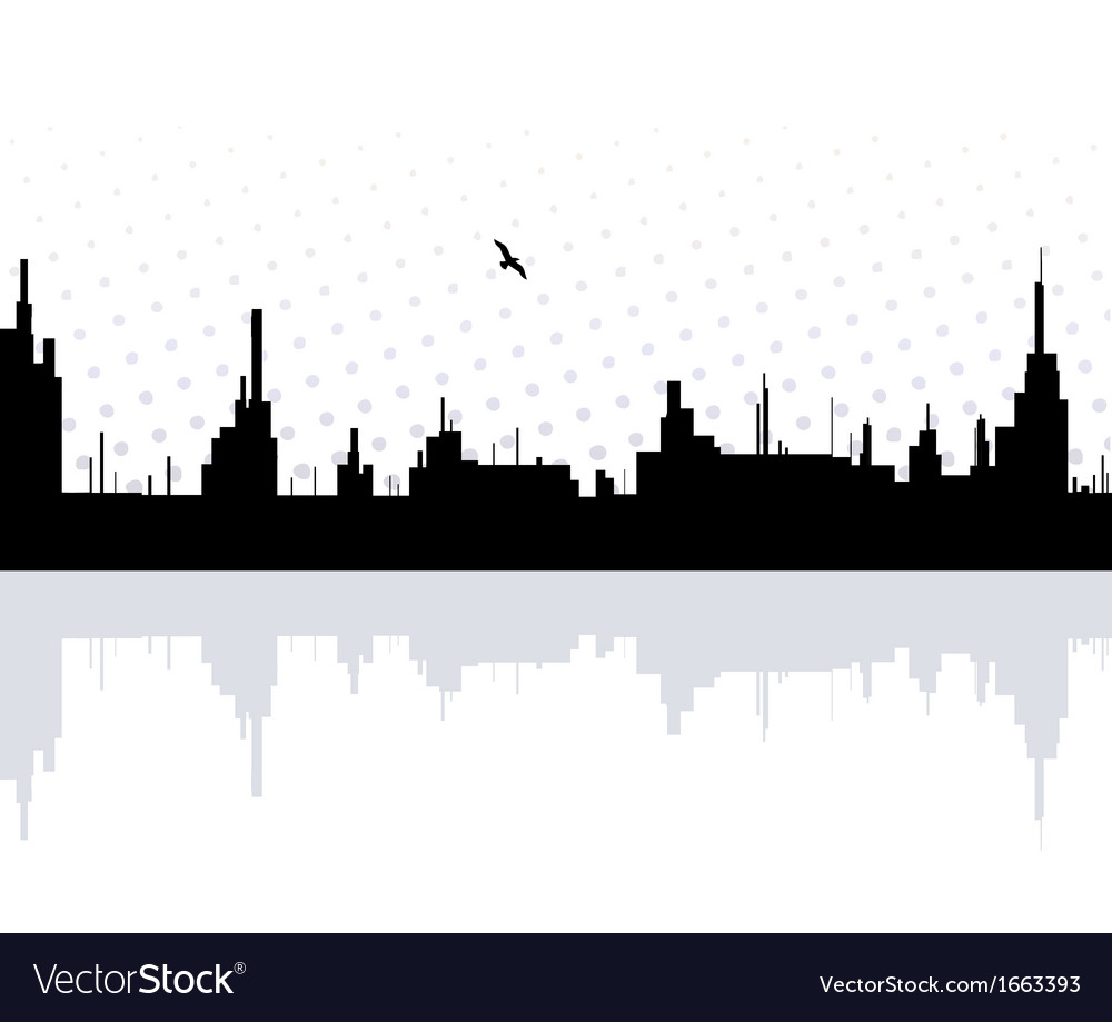City reflected in the water with bird vector | Price: 1 Credit (USD $1)