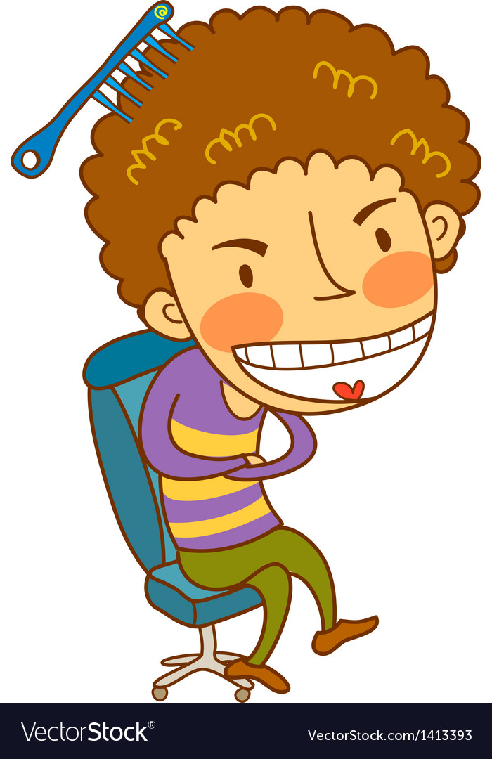 Close-up of boy sitting on chair vector | Price: 3 Credit (USD $3)