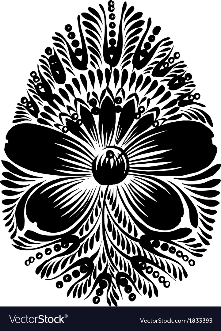 Decorative floral silhouette easter egg vector | Price: 1 Credit (USD $1)