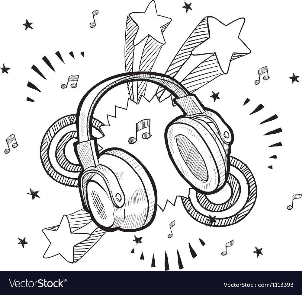 Doodle pop headphones audio music vector | Price: 1 Credit (USD $1)