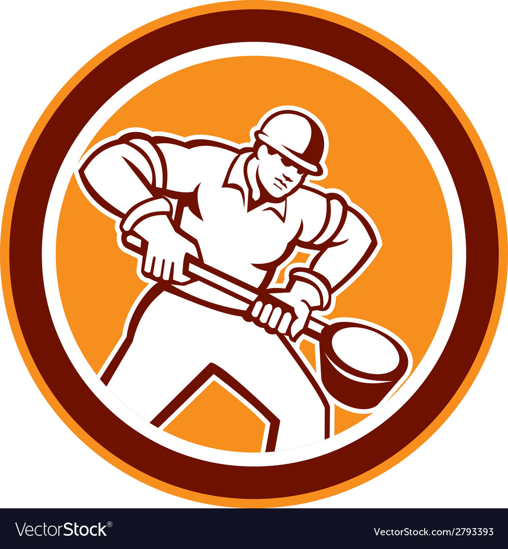 Foundry worker holding ladle circle retro vector | Price: 1 Credit (USD $1)
