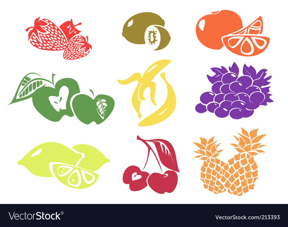 Icon set of various fruit vector | Price: 1 Credit (USD $1)
