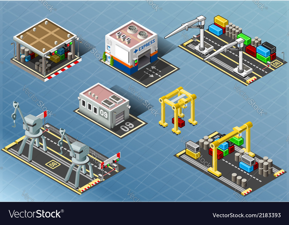 Isometric set of storage buildings vector | Price: 1 Credit (USD $1)
