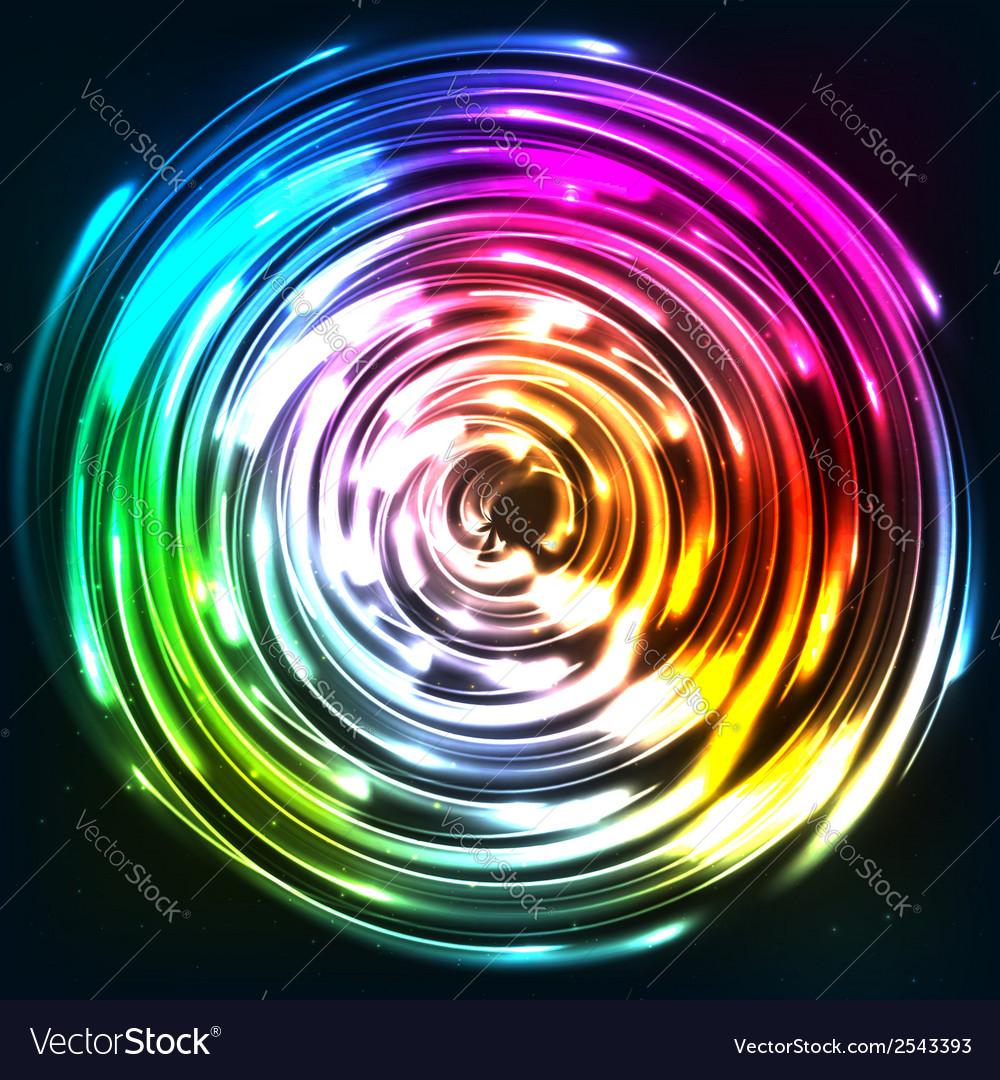 Rainbow colors shining neon lights disc vector | Price: 1 Credit (USD $1)