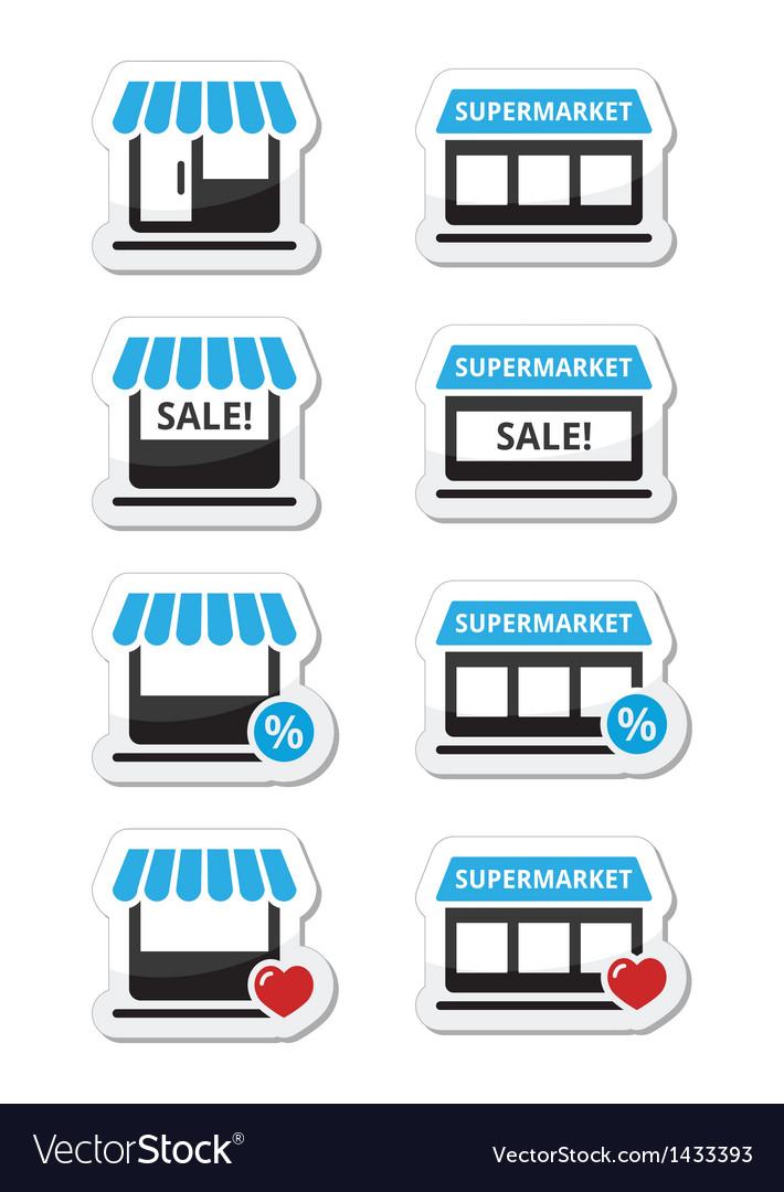 Single shop store supermarket icons set vector | Price: 1 Credit (USD $1)